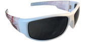 Edge Caraz Patriot Safety Glasses, White Frame Smoke Lens (HZ146-P2) Oblique view
