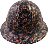 Patriot Skulls Hydro Dipped Hard Hats Full Brim Style
