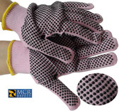 MCR Pink String Knit Gloves with Dots Pic 1