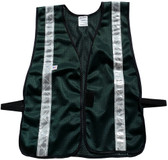 Dark Green Soft Mesh Safety Vest with Silver Stripes