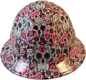 Sugar Skulls Hydro Dipped Hard Hats Full Brim Style