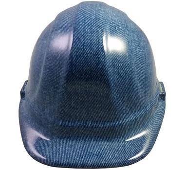 Blue Denim Hydro Dipped Hard Hats Cap Style