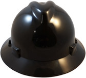 MSA V-Gard Full Brim Hard Hats with Staz-On Suspensions Black