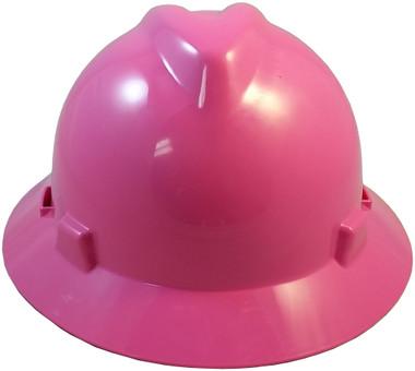 MSA V-Gard Full Brim Hard Hats with Staz On Suspensions Hot Pink Front