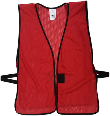 Brick Red Mesh Plain Safety Vest  pic 1