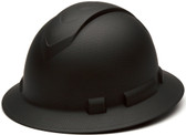 Pyramex 4 Point Full Brim Black Ridgeline Style Hard Hat with RATCHET Suspension Graphite pattern Oblique View