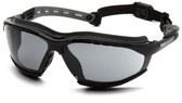 Pyramex Isotope Safety Glasses ~ Black Frame - H2 Max Smoke Anti-Fog Lens Oblique