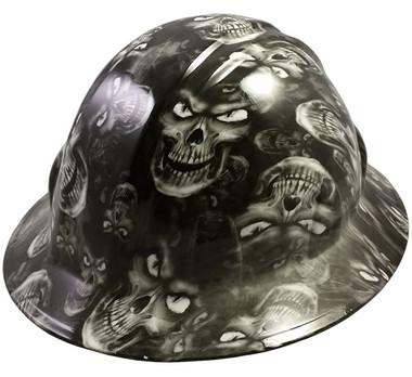 Hades Skull White Hydro Dipped Hard Hats Full Brim Style