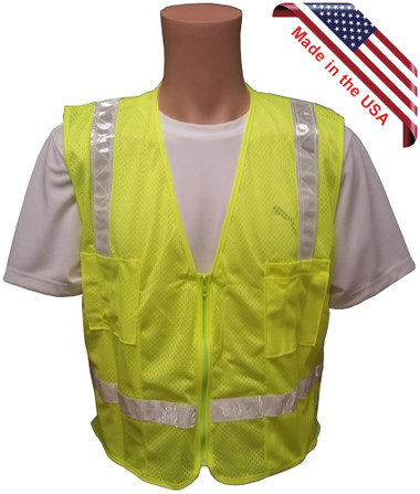 Lime MESH Surveyors Safety Vest with Silver Stripes and Pockets front