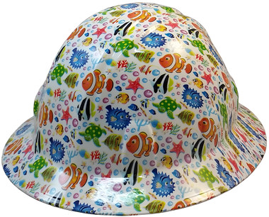 Cartoon Fish Hydro Dipped Hard Hats Full Brim Design ~ Oblique View