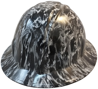Guns and Skulls Hydro Dipped Hard Hats Full Brim Design ~ Oblique View