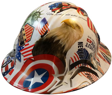 Patriot Day Hydro Dipped Hard Hats, Cap Style Design ~ Oblique View
