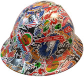 Route 66 Sticker Bomb Hydro Dipped Hard Hats, Full Brim Design ~ Oblique View