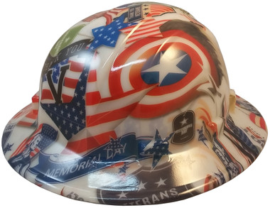 Patriot Day Hydro Dipped GLOW IN THE DARK Hard Hats ~ Oblique View