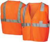 Pyramex Class 2 Self Extinguishing Mesh Hi-Vis Orange Safety Vests w/ Silver Stripes