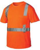 Pyramex Class 2 Hi-Vis Orange T-Shirts, 1 Pocket w/ Silver Stripes ~ Front View
