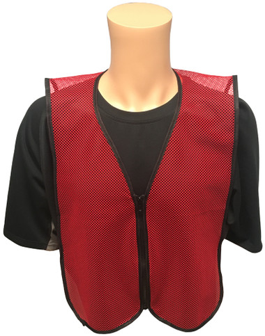 Dark Red Open Mesh Plain Safety Vest with Zipper Front Main