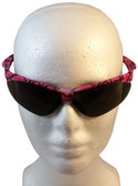 ERB Annie Safety Glasses with Pink Camo Design and Smoke Lens ~ Front View