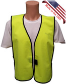 Solid Material Lime Safety Vests ~ Front View