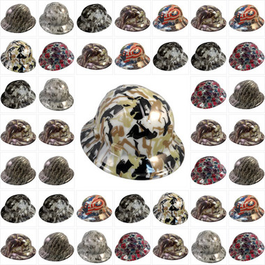 "Hydro Dipped Hard Hats Full Brim ""Glow In The Dark"" Design"