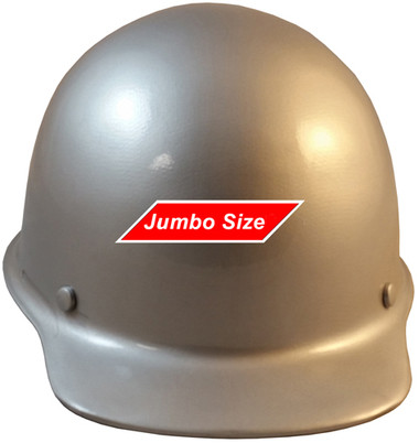 MSA Skullgard  (LARGE SHELL) Cap Style Hard Hats with STAZ ON Suspension - Silver  - Front View
