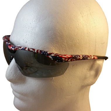 Gateway Old Glory Camo Patriotic Safety Glasses with Silver Mirror Lens - Detail View