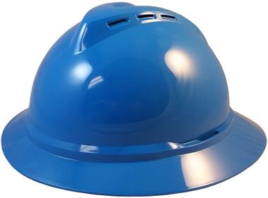 MSA Advance Full Brim Vented Hard hat with 4 point Ratchet Suspension Blue - Oblique View