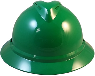 MSA Advance Full Brim Vented Hard hat with 4 point Ratchet Suspension Green - Front View
