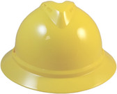 MSA Advance Full Brim Vented Hard hat with 6 point Ratchet Suspension Yellow - Front View