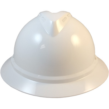 MSA Advance Full Brim Vented Hard Hats with Ratchet Suspensions White Front