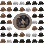 Pyramex Full Brim RIDGELINE Hard Hats - 4 Point Ratchet Suspensions - All Patterns
