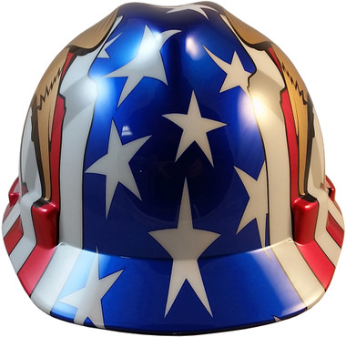 MSA V-Gard American Flag and 2 Eagles Hard Hats - Front View
