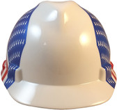 MSA V-Gard with Dual American Flag on Both Sides Hard Hats - Front View