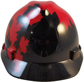 MSA V-Gard BLACK Shell Canadian Flag Hard Hats - Front View