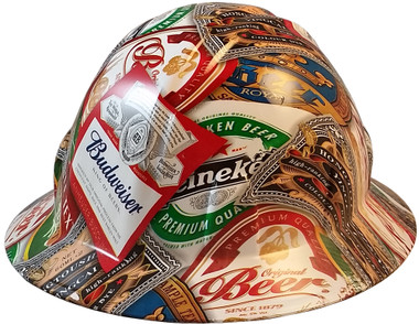 Beer Cans Full Brim Style Hydro Dipped Hard Hats - Oblique View