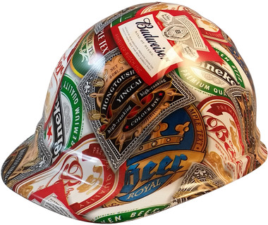 Beer Cans Cap Style Hydro Dipped Hard Hats - Oblique View