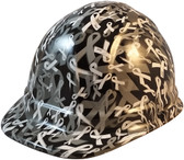 Cancer Awareness White Cap Style Hydro Dipped Hard Hats - Oblique View