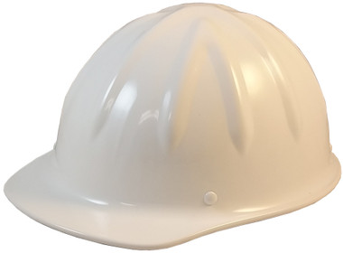 SkullBucket Aluminum Cap Style Hard Hats with Ratchet Suspensions - White - Oblique View