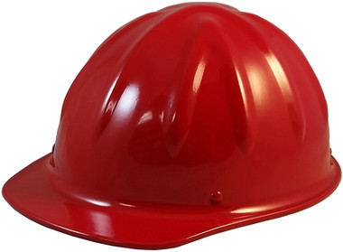 SkullBucket Aluminum Cap Style Hard Hats with Ratchet Suspensions - Red - Oblique View