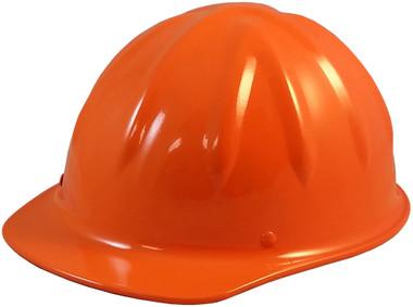 SkullBucket Aluminum Cap Style Hard Hats with Ratchet Suspensions - Hi Viz Orange - Oblique View