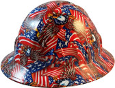 Red American Eagle Patriotic Hydro Dipped Hard Hats Full Brim Style - Oblique View