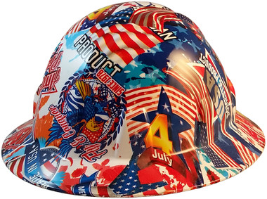 Made In USA Patriotic Hydro Dipped Hard Hats Full Brim Style - Oblique View