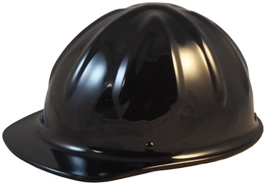 SkullBucket Aluminum Cap Style Hard Hats with Ratchet Suspensions - Black - Oblique View