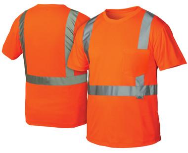 Pyramex Class 2 Hi-Vis Orange T-Shirts, 1 Pocket w/ Silver Stripes