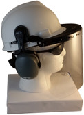 MSA V-Gard Cap Style hard hat with Clear Faceshield, Hard Hat Attachment, and Earmuff - White Side