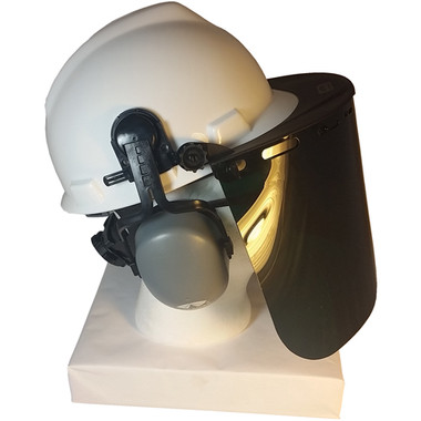 MSA V-Gard Cap Style hard hat with Dark Green Faceshield, Hard Hat Attachment, and Earmuff - White hard hat- Side