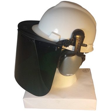 MSA V-Gard Cap Style hard hat with Dark Green Faceshield, Hard Hat Attachment, and Earmuff - White hard hat- right Side