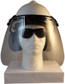 MSA V-Gard Cap Style hard hat with Polycarbonate Clear Faceshield, Hard Hat Attachment, and Earmuff - White front