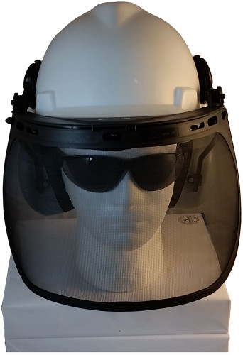 MSA V-Gard Cap Style hard hat with Smoke Mesh Faceshield, Hard Hat Attachment, and Earmuff - White hard hat- front