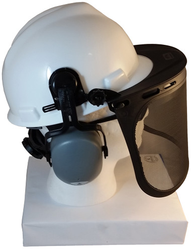MSA V-Gard Cap Style hard hat with Smoke Mesh Faceshield, Hard Hat Attachment, and Earmuff - White hard hat- side